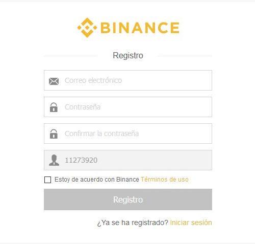 Registro en Binance
